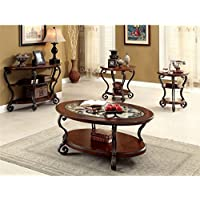 Furniture of America Azea 4 Piece Coffee Table Set in Brown Cherry