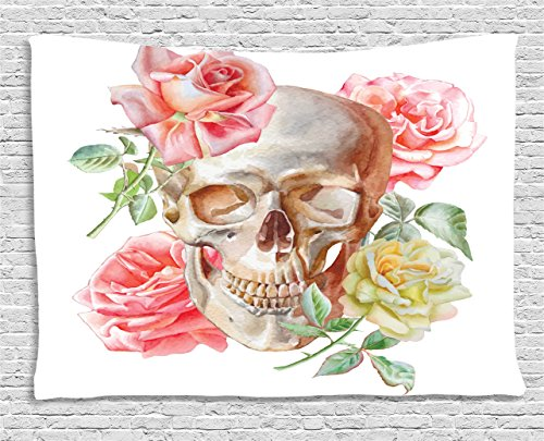 Ambesonne Skulls Decorations Tapestry, Skull with Roses Living and The Dead Humor Romantic Evil Face Image Art Deco, Wall Hanging for Bedroom Living Room Dorm, 60 W X 40 L Inches, Pink Beige Yellow ()