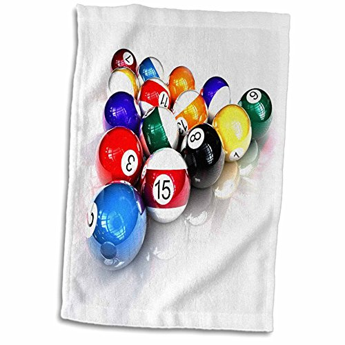 - 3D Rose Billiards Balls Pool Towel, 15 x 22