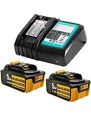 TDL 2 Stk Vervanging voor Makita 5AH 18 Volt Batterij met DC18RC-Oplader Compatibel met MAKITA RADIO DMR107 DMR 108 DMR110 DMR 112 DMR106 Vervanging Tool Batterij BL1850 BL1840 BL1830 BL1450 BL1430