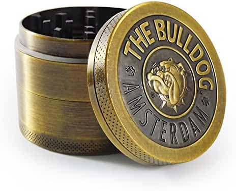 4 Piece Herb Spice Weed Tobacco Grinder With Pollen Kief Catcher By BULLDOG, Ideal Sleek Design, 50mm Diameter Small Travel Size Crusher, Heavy Duty & Durable Construction