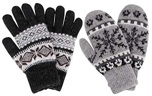 (Knit Mittens Women's Winter Snowflake Sherpa Lined Gloves,2 Pairs,Dark)