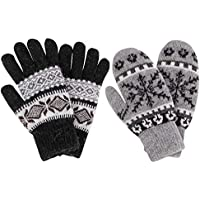 Simplicity Women's Winter 2 Pairs Accessory Snowflake Mittens & Gloves Set