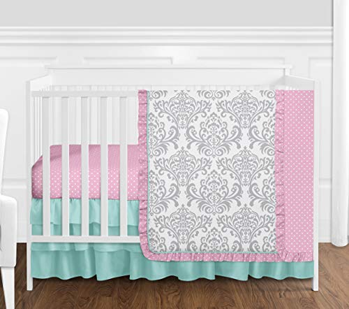 Boutique Skylar Turquoise Blue Pink Polka Dot and Gray Damask Girls Baby Bedding 4 Piece Crib Set Without Bumper (Polka Turquoise Ruffle Dot)