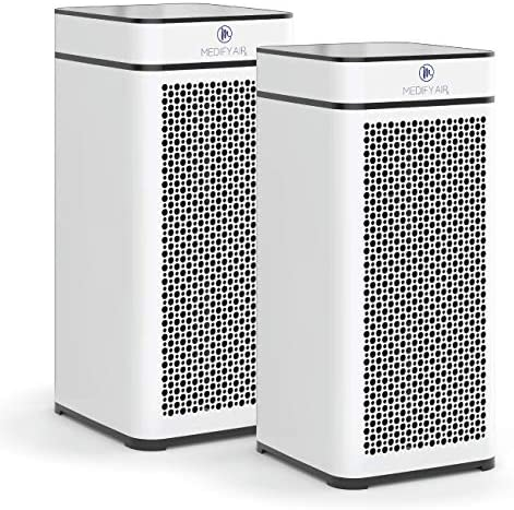Medify Air MA-40-W2 V2.0 Air Purifier with H13 HEPA filter – a higher grade of HEPA for 840 Sq. Ft. Air Purifier, 99.9% | Modern Design – White (2-Pack)