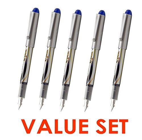 Pilot V Pen (Varsity) Disposable Fountain Pens, Blue Ink, Small Point Value Set of 5(With Our Shop Original Product Description)