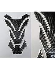 Protector para depósito, para motocicleta, aspecto de carbono, universal, color negro y plateado