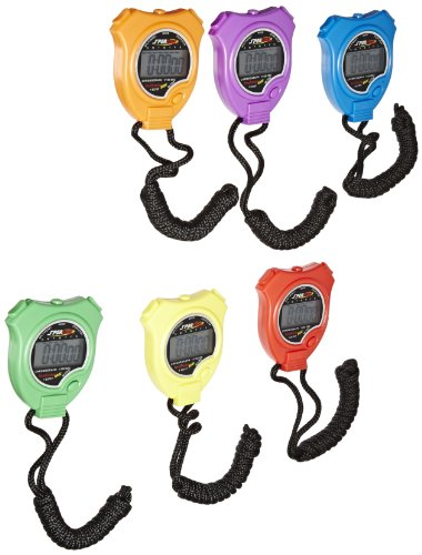 Sportime Timetracker Basic Stopwatches, Assorted Colors, Set of 6