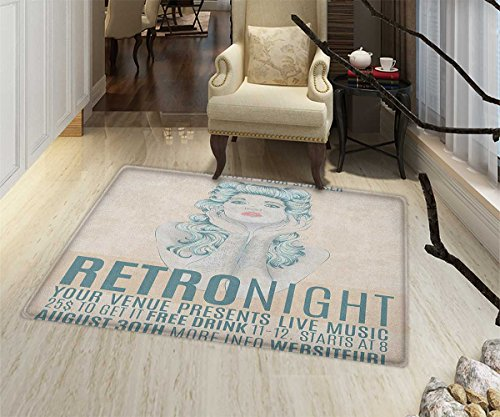 Indie Door Mats Area Rug Retro Night Theme Poster Design Att