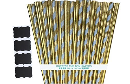 Outside the Box Papers Gold Foil and Pastel Stripe Paper Straws- 7.75 Inches 100 Pack Periwinkle Blue, Gold (Baby Shower Cake Pops)
