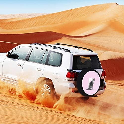 SUVタイヤカバー スペアタイヤカバー ピンク 猫柄 タイヤ収納 カー用品 背面カバー 保管カバーパークレザー 雨よけカバー 背面スペアカバー 軽自動車 適用車 防水 簡単装着 車用15inch 17inch