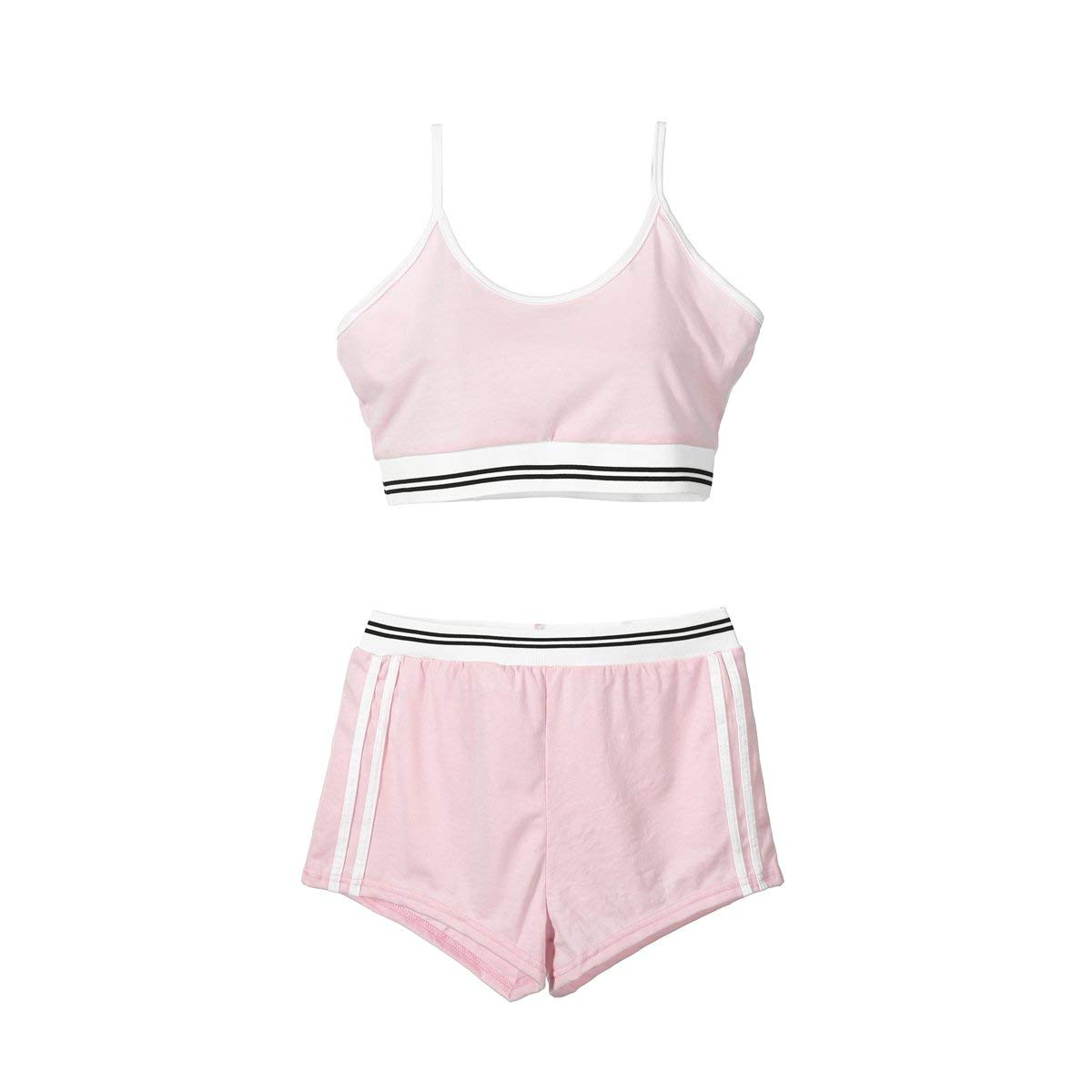Women Sports Yoga Spaghetti Strap Crop Tank Top and High Waist Shorts Set