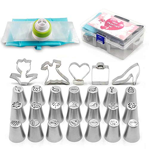 - Piping Nozzles Valentine's Day Cake Decorating Tips Set 30Pcs-21Pcs Icing Tips 5Pcs Cookie Cutter 3Pcs Pastry Bags 1Pc Tricolor Coupler,Exclusive Valentine Edition