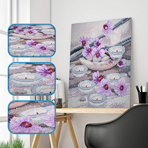 XIAOMA Full Square Drill Diamond 5D DIY Diamond Painting Flower & Candle Stones Embroidery Cross Stitch Rhinestone Painting Gift ()
