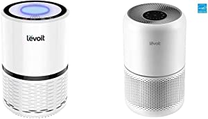 LEVOIT H13 True HEPA Filter Air Purifiers, LV-H132 & Air Purifier for Home Allergies Pets Hair Smokers in Bedroom, H13 True HEPA Air Purifiers Filter, 24db Quiet Air Cleaner, Core 300, White