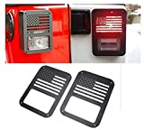 E-cowlboy Tail Lamp Tail Light Cover Trim Guards Protector 2pcs for Jeep Wrangler Sport X Sahara Unlimited Rubicon 2007-2015 (Usa Flag)