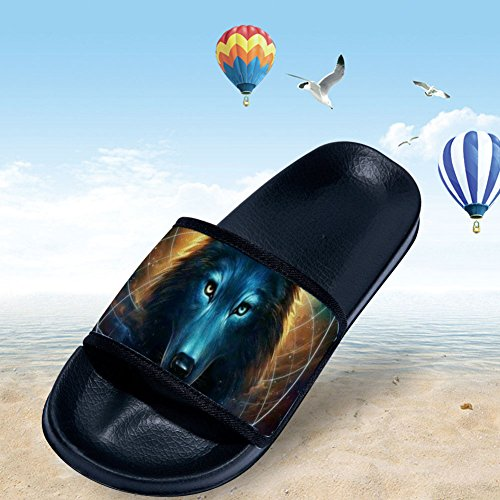 Sandals Antiskid Shower Wild Shoes Adults Slipper Comfy Wolf Open Black Toe Flat Women Fvwqv
