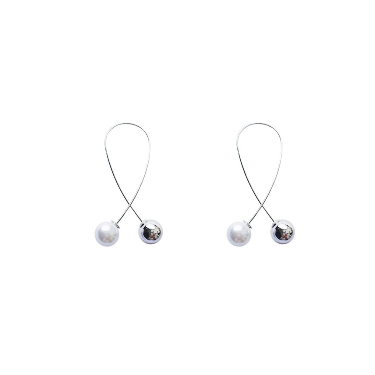 LALANG Temperament Imitation Pearl Pendant Earrings Simple Wild Clothing Accessories(Silver)