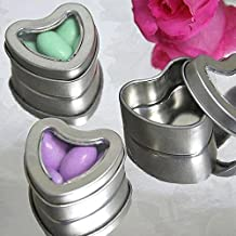 BalsaCircle 100 Silver Heart Mint Tin Wedding Party Favor Boxes for Wedding Party Birthday Candy Decorations Supplies