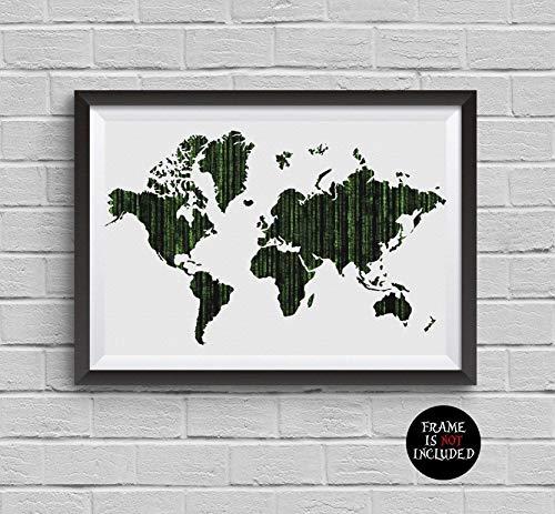 (World Map Matrix Alternative Movie Poster Matrix Code Neo Morpheo Trinity Wachowski Brothers Painting Archival Fine Art Print Wall Art Wall Decor Art Home Decor Wall Hanging Gift)