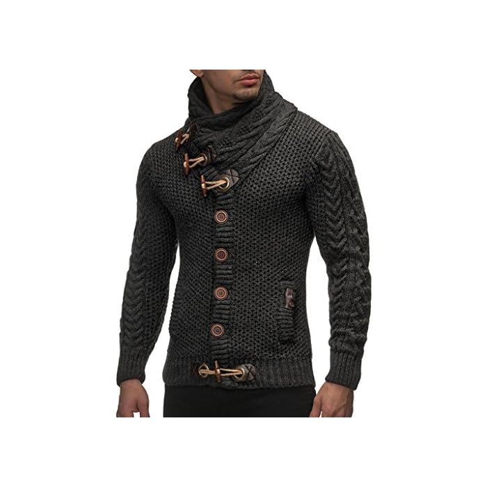 51NU7oRGbbL POSIBILIDADES COMBINADAS: La chaqueta de hombre con capucha y cuello de chal se adapta a todas las situaciones de la vida cotidiana (trabajo / negocios, ocio o fiesta) y se puede combinar en diferentes estilos. No importa si usas pantalones vaqueros o pantalones de carga para hombres. También es perfecto con una camiseta de hombre o debajo de un chaleco. Una chaqueta de hombre con capucha fresca, moderna y casual para los días de primavera, otoño, invierno y verano frío. LEIF NELSON: Somos fabricantes y producimos ropa de primera clase para hombre y mujer en todos los colores y tallas posibles. Con nosotros encontrará lo que necesita! Desde suéteres básicos de hombre con escote redondo, suéteres de invierno con cuello en V, sudaderas hasta suéteres de manga larga y suéteres de cuello alto de hombre. 100% Poliacrílico