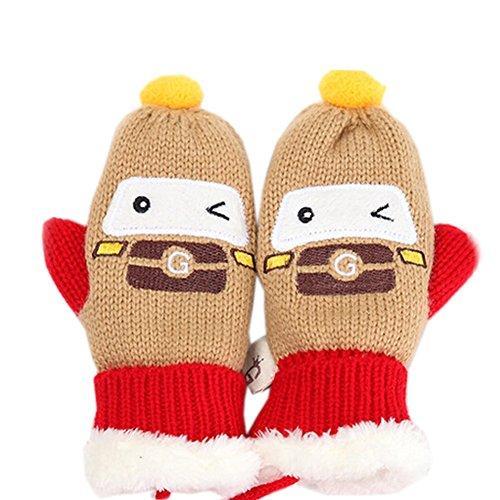 Kylin Express Kids' Khaki Car Double Layer Mittens (1-4 Years) Winter Hand Gloves 1 Pair