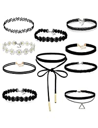 Cupimatch 10PCS Womens Black Velvet Choker Necklace Women Lace Choker Tattoo Necklace (10 pcs)