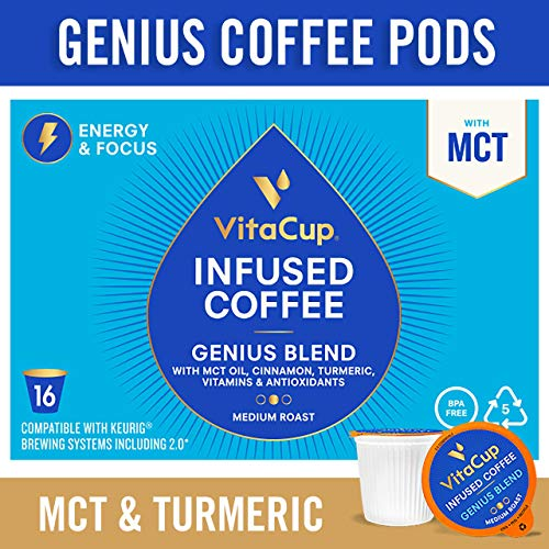 VitaCup Genius Blend Coffee Pods 16ct with MCT, Turmeric, Vitamins, Cinnamon, Keto|Paleo|Whole30 Friendly, B12, B9, B6, B5, B1, D3, Compatible with K-Cup Brewers Including Keurig 2.0, Top Rated Cups
