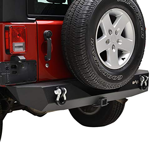 (E-Autogrilles 51-0310 Black EAG 2007-2018 Jeep Wrangler JK Rock Crawler Rear Bumper with Hitch Receiver D-ring Shackle)