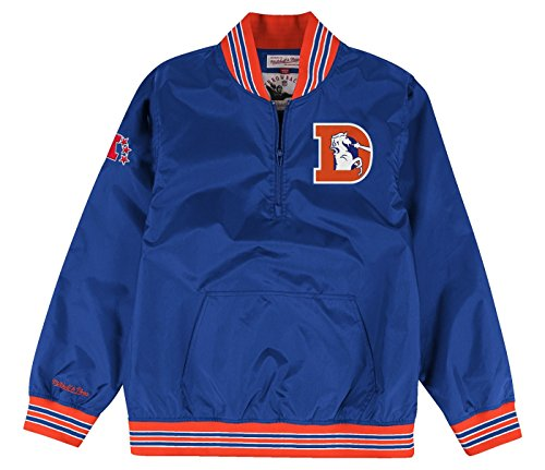 Denver Broncos Mitchell & Ness NFL Men's 1/4 Zip Nylon Pullover Jacket (XX-Large) (Throwback Jersey Jacket)