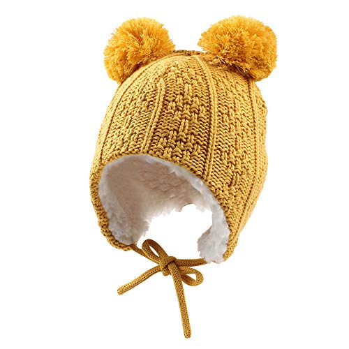 (Baby Boys Winter Hat Thick Velvet Lining Warm Hat For Girls Cute Pompom Classic Knit Beanie (S, Yellow) )