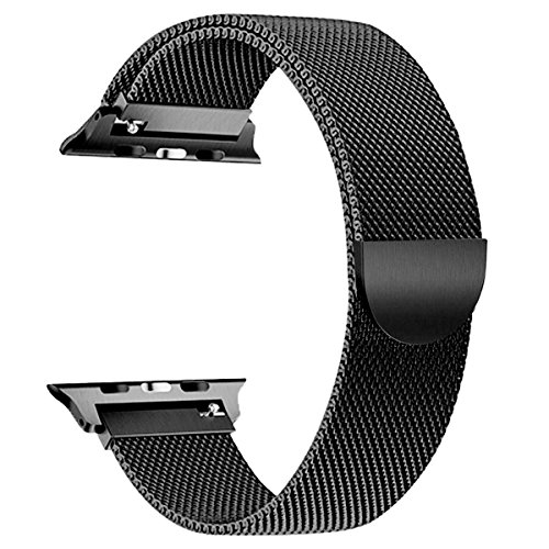OULEDI Compatible Stainless Steel Band for Apple Watch Replacement Mesh Strap Bracelet for iWatch Series 1 Series 2 Series 3 Series 4 with Magnetic Closure Clasp 42mm 44mm Black