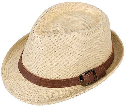Simplicity Panama Style Fedora Straw Sun Hat with Leather Belt,Natural SM Belt Style Leather Hat Bands