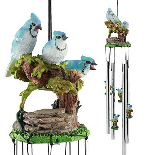 Wildlife Trio - Ky & Co YK Wildlife Trio Blue Jay Birds On Branch Wind Chime Garden Patio Figurine 21