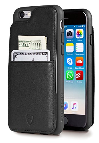 iPhone 6 & 6S Case, Vaultskin Eton Armour iPhone 6 & 6S (4.7) Case Wallet, Slim, Minimalist Genuiner Leather Case - Holds up to 8 Cards/Top Grain Leather (Black)