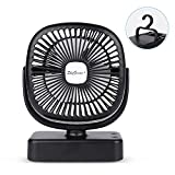 SkyGenius Battery Operated Fans for Camping, Portable Outdoor Ceiling Fan with LED Lights/Hook
