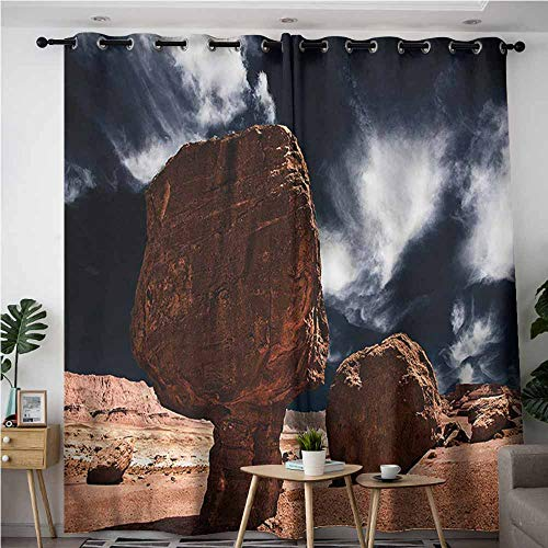 BE.SUN Grommet Curtains,Canyon,Rocks and Boulders View,Room Darkening, Noise Reducing,W96x72L