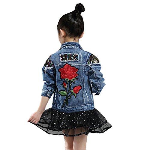 Star Flower Girls Denim Blue Coats Jackets Autumn Wear (8, Blue) (Best Place To Get Denim Jackets)
