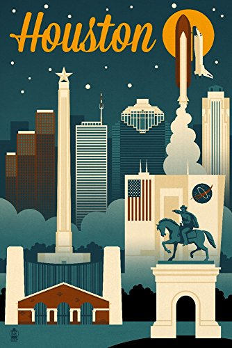Houston, Texas - Retro Skyline (9x12 Art Print, Wall Decor Travel (Houston Texas Skyline)