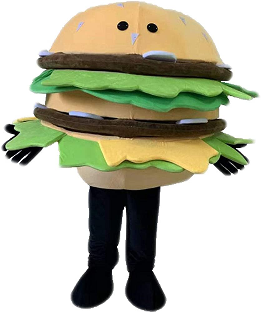 Adult Mascot Hamburger Costume Food Fancy Dress Adult Plush Suit Full Body Outfit