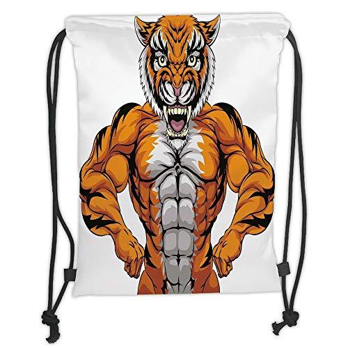 Custom Printed Drawstring Sack Backpacks Bags,Animal,Wildlife Safari African Animal Bodybuilder Tiger Cartoon Image,Marigold Light Grey and Black Soft Satin,5 Liter Capacity,Adjustable String Closure,