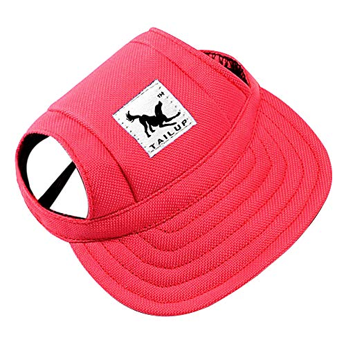 Happy Hours - Fashion Small Pet Dog Cat Baseball Visor Sports Hat Cap Puppy Summer Baseball Outdoor Ear Holes Sunbonnet Outfit Elastic Leather Neck Strap 6 Colors 2 Sizes Available(Red,Size ()
