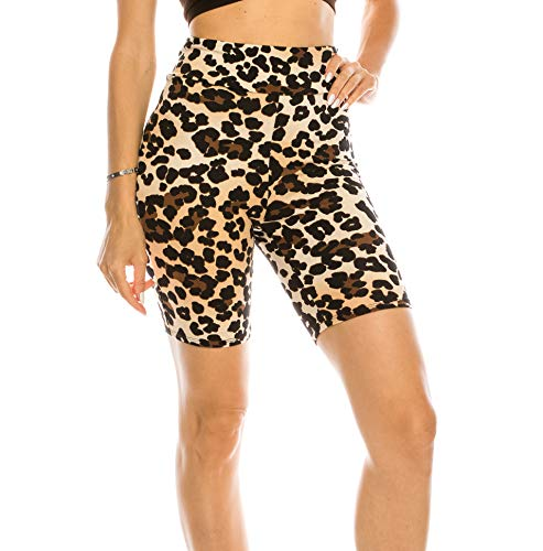 CNC STYLE B003 Women's Knee Length Stretch High Waist Leopard Print Active Bike Yoga Short Leggings, Leopard, Small