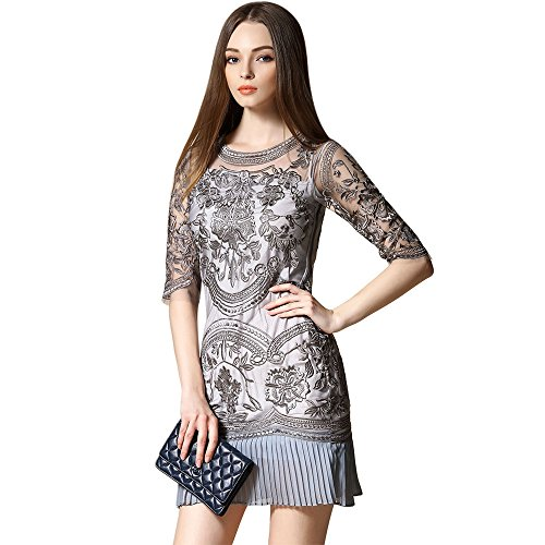 dezzal Party transparenten Spitze Damen Cocktail Grau Floral Tüll Ball bestickter Kleid rwXrP0q