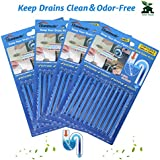 Drain Sticks Sink Sticks Drain Stix Drain Cleaner & Deodorizer Drain Deodorizer Sticks Unscented Non-Toxic for Kitchen Bathroom Sinks Pipes Septic Tank Safe As Seen On TV (48pcs, Blue)