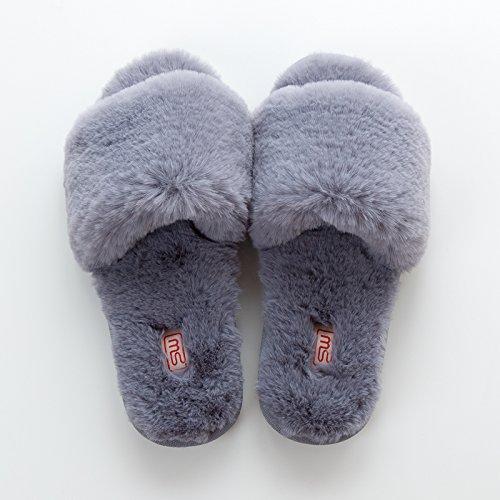 LaxBa Lhiver au chaud, lhiver Chaussons Chaussons moelleux Accueil chaleureux en hiver, chaussures antiglisse gris Bottines36-37