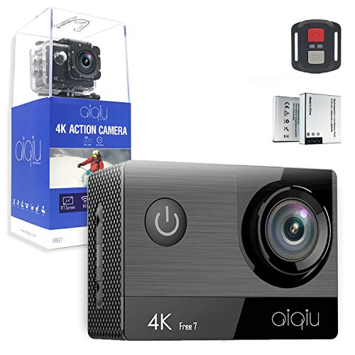 """AIQIU 4K Action Camera, Sony Sensor WIFI Waterproof Sports Cam 170 Degree Wide Angle 2""""Screen Ultra HD 16MP/2 Rechargeable 1350mAh Batteries/ Wireless Remote Control/ 21 Mounting Kits"""