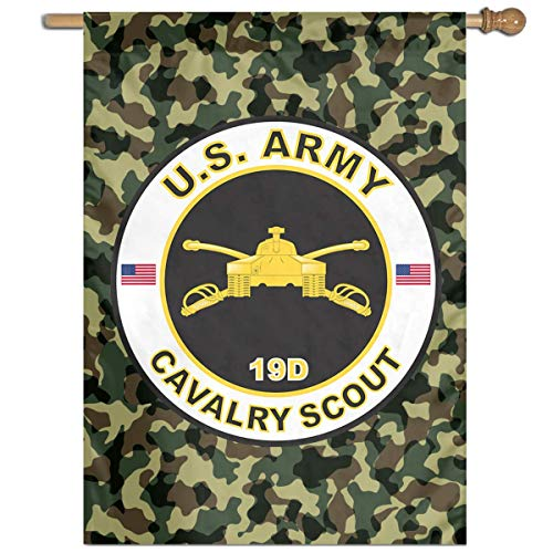 NfuquyamDoormat 8 Inch US Army MOS 19D Cavalry Scout Garden Flags Set for Outdoors Evergreen Classic House Flag