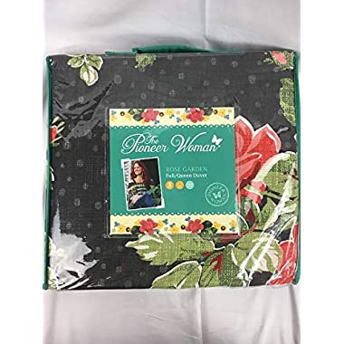 Pioneer Woman Rose Garden Duvet Cover, Grey (Grey, Full/Queen)
