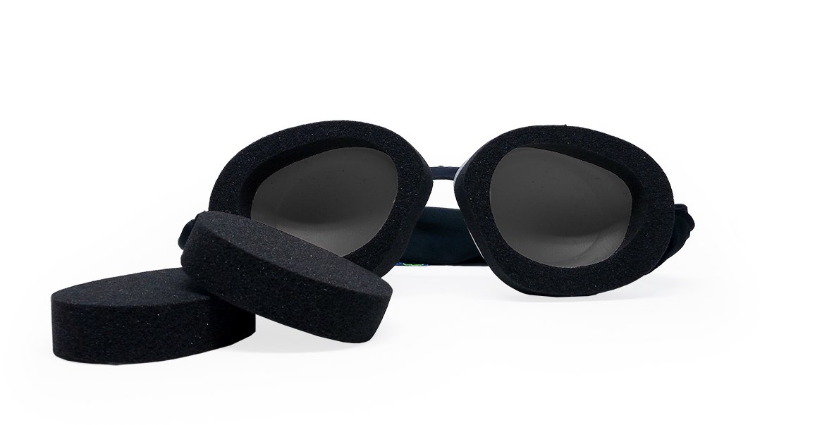 Tranquileyes Travel and Sleep Kit Sleep Mask for Nighttime Dry Eye Relief (Black, Charcoal)